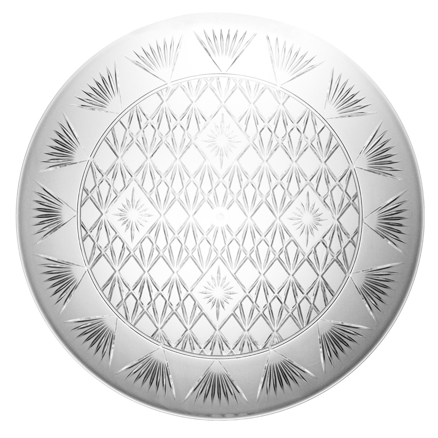 Party Essentials Hard Plastic 16-Inch Round Diamond Cut Serving Tray, Crystal Clear, Single Unit by Party Essentials