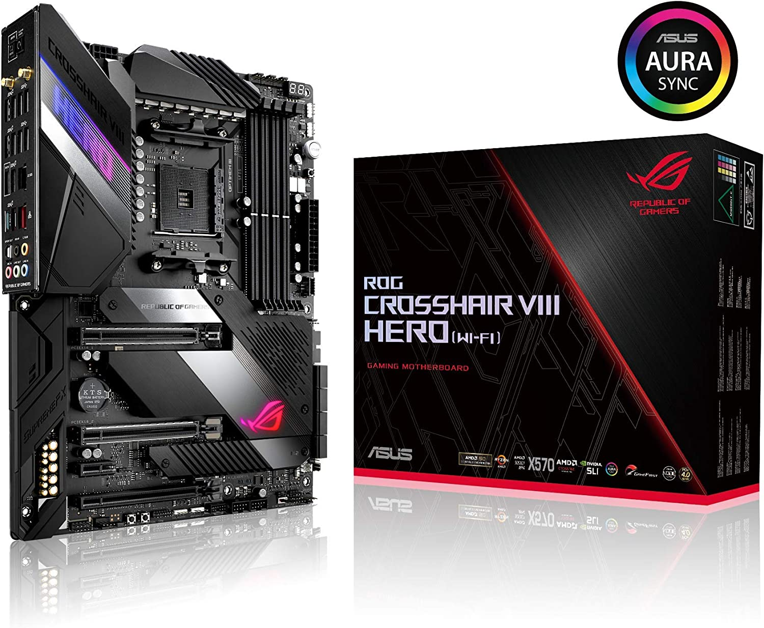 Asus ROG X570 Crosshair VIII Hero (Wi-Fi) ATX Motherboard with PCIe 4.0, on-Board WiFi 6 (802.11Ax), 2.5 Gbps LAN, USB 3.2, SATA, M.2, Node and Aura ...