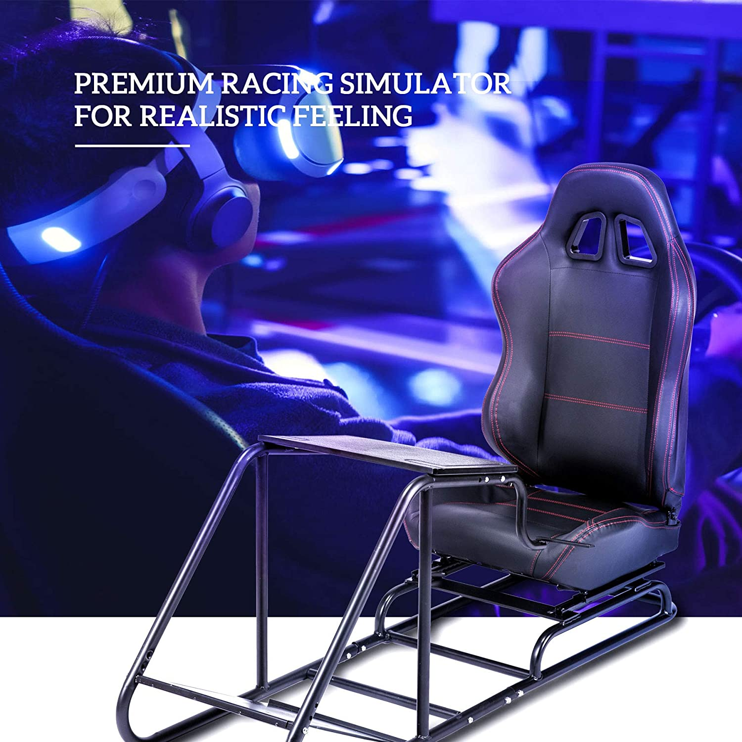 CO-Z Video Game Real Bucket Racing Seat Cockpit Simulator Adjustable Racing Seat w Gear Shifter Mount Pedal for PS4 PS3 Xbox One Xbox 360 Logitech ...