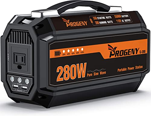 PROGENY 280W Generator Portable Power Station- Upgraded 250Wh 67500mAh -Lithium Battery Pack Supply with 110V AC Outlet, 3 DC 12V Ports, 2 USB, Solar Generators for Camping CPAP Emergency Home