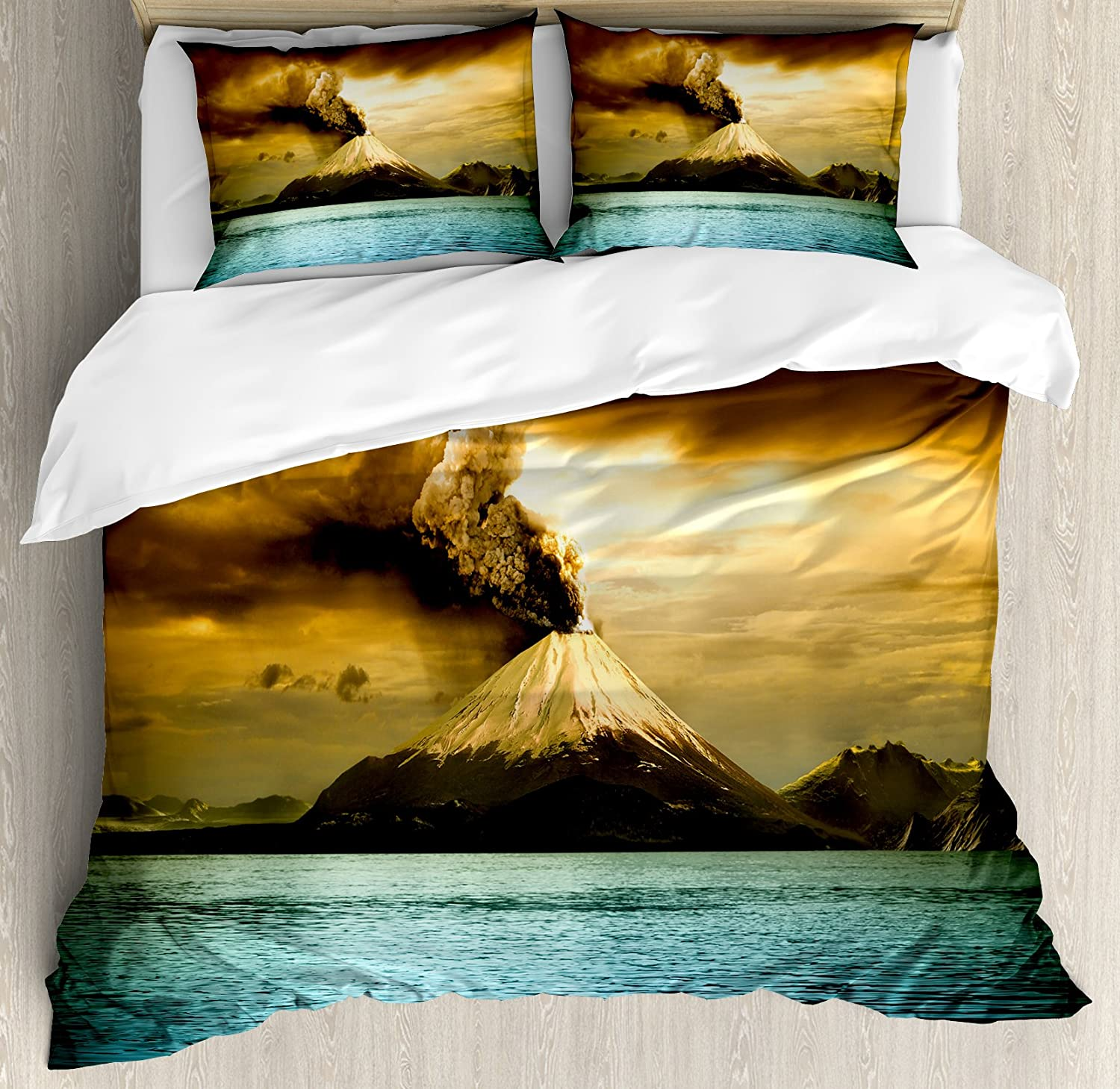 Volcano Bedding Set Queen 3 Pieces Disaster Printed Pattern Red Yellow Comforter Set Lava Duvet Cover For Adult Boys Men Teen Bedspread With Zipper Ties 1 Duvet Cover 2 Pillowcases No Comforter