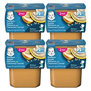 Gerber 2nd Foods Baby Food, Apple Banana with Oatmeal, (2 Tubs/Pack, 4 OZ Each) (Pack of 4)
