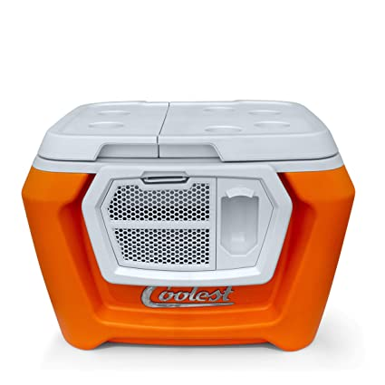 Coolest Cooler (60 Quart, Classic Orange) Premium ice Chest with Bluetooth  Speaker, Oversized Wheels, telescoping Handle, Picnic Party Essentials,