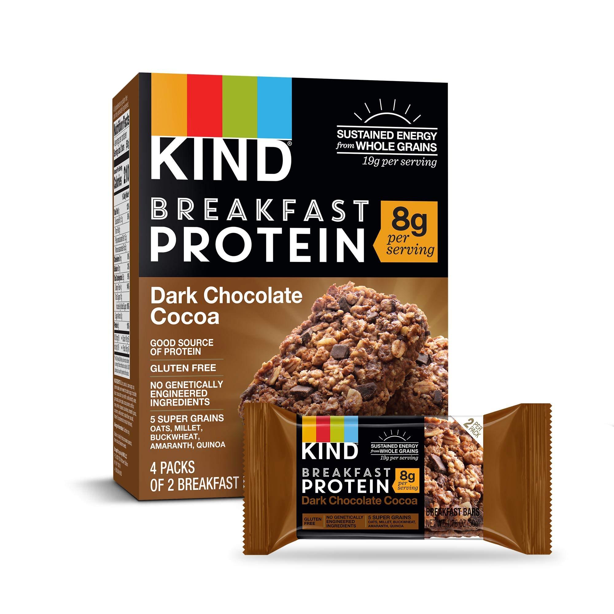 KIND Breakfast Bars, Dark Chocolate Cocoa, Gluten Free, 1.8oz, 32 Count