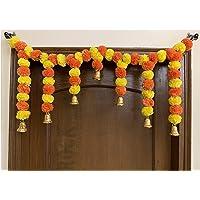 Sphinx Artificial Marigold Fluffy Flower Garlands Door Toran Set/Door Hangings for Decoration (Approx. 100 X 41 cms)- (Yellow & Dark Orange)
