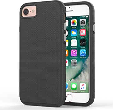 MoKo Funda para iPhone 8/7 - Avanzado [Antideslizante] [Resistente a los Arañazos] TPU Parachoques y Duro PC Parachoque Absorbante Funda para Apple iPhone 8/7 Smartphone, Negro: Amazon.es: Electrónica