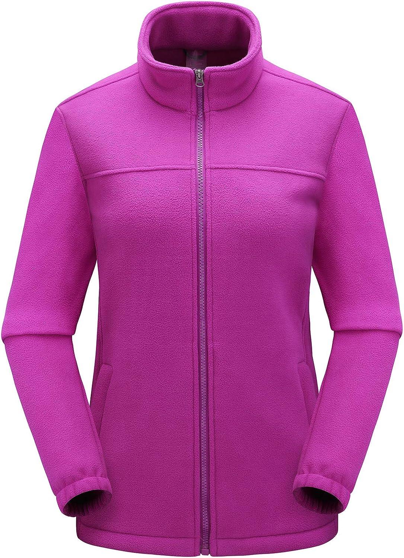 Kolongvangie WoWomens Classic Active Full-Zip Soft and Lightweight Fleece Jackets