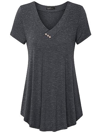 d539aa63b33 Vinmatto Women's Short Sleeve V Neck Flowy Tunic Top at Amazon ...