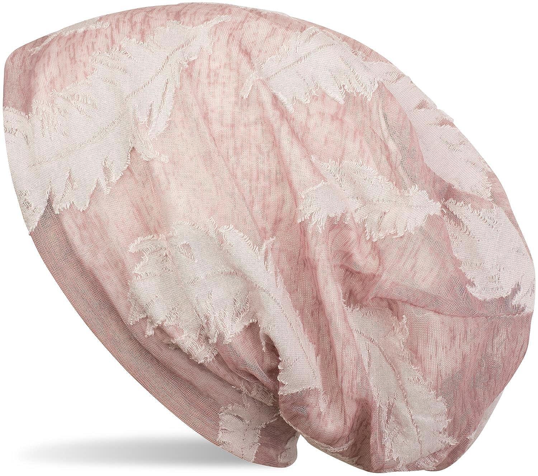 styleBREAKER Beanie Mütze mit gewebtem Feder Muster, Slouch Longbeanie, Unisex 04024130 Farbe:Altrose