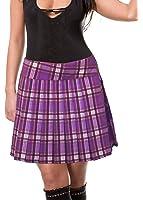 Purple Schoolgirl Tartan Plaid Pleated Skirt Purple Junior Long