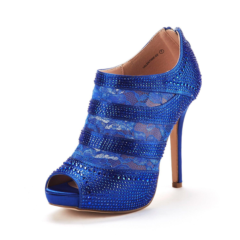 DREAM PAIRS Women's Valentine-02 Royal Blue Satin Fashion Dress High Heel Peep Toe Wedding Pumps Shoes Size 5.5 M US