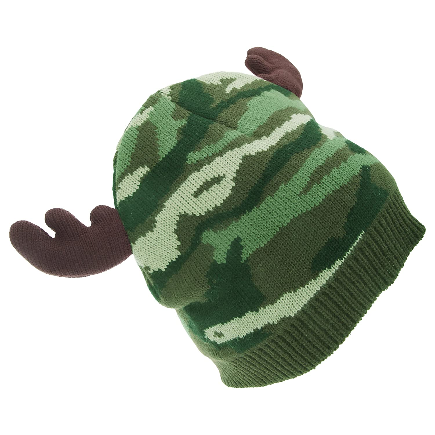 dfcc71ebff1 Amazon.com  FLOSO Mens Camo Pattern Winter Beanie Hat with Moose Antlers  (One Size) (Camo)  Clothing