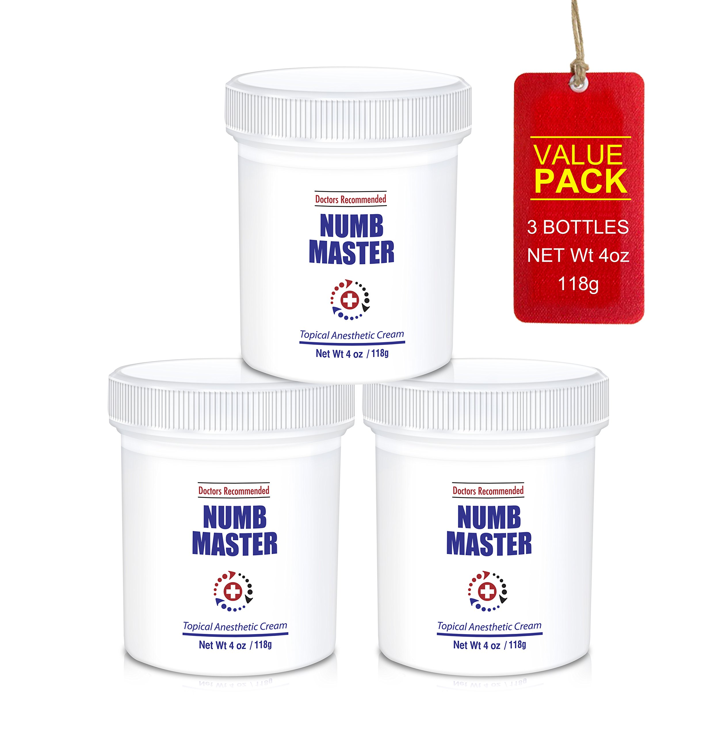 Numb Master 5% Topical Anesthetic Lidocaine Cream, Made in USA, Fast Penetration, Liposmal lidocaine, Non-oily (12 oz (3 jars x 4oz))