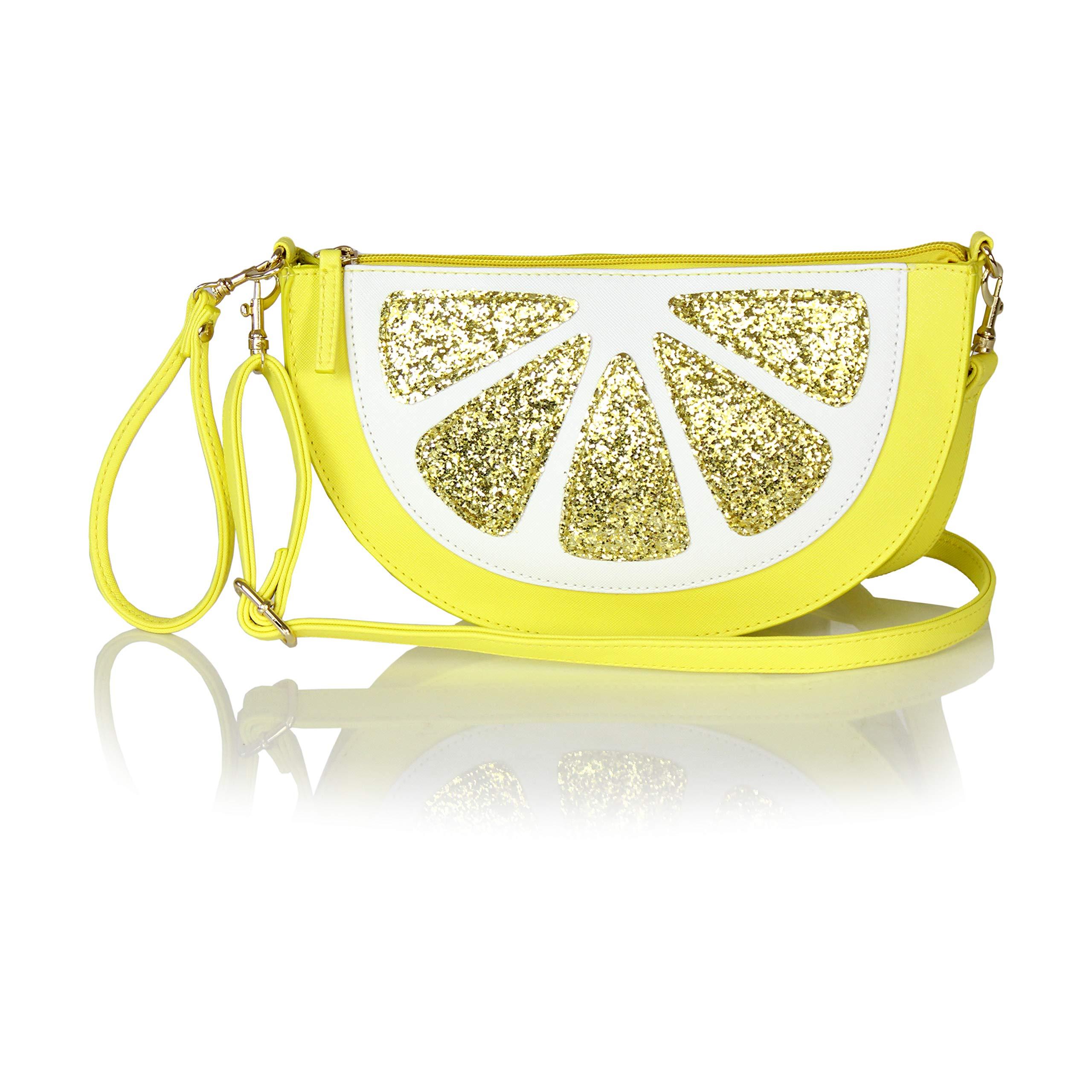Cute Fruit Summer Shoulder Bag- Lemon Messenger Sling Crossbody Purse or Clutch (Lemon)
