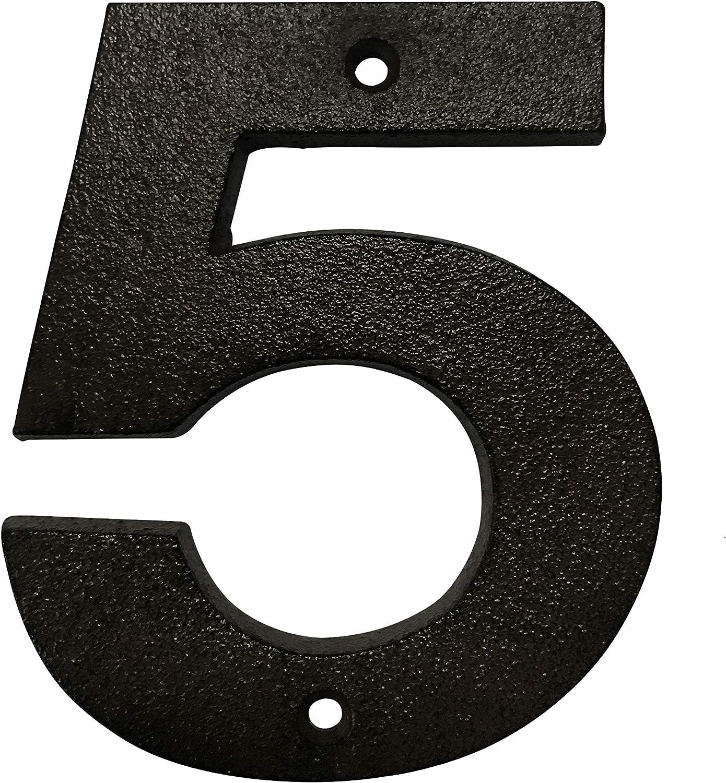acabado negro desgastado para uso al aire libre Pristine N/úmeros de casa de 12.5cm hierro fundido 8, Negro