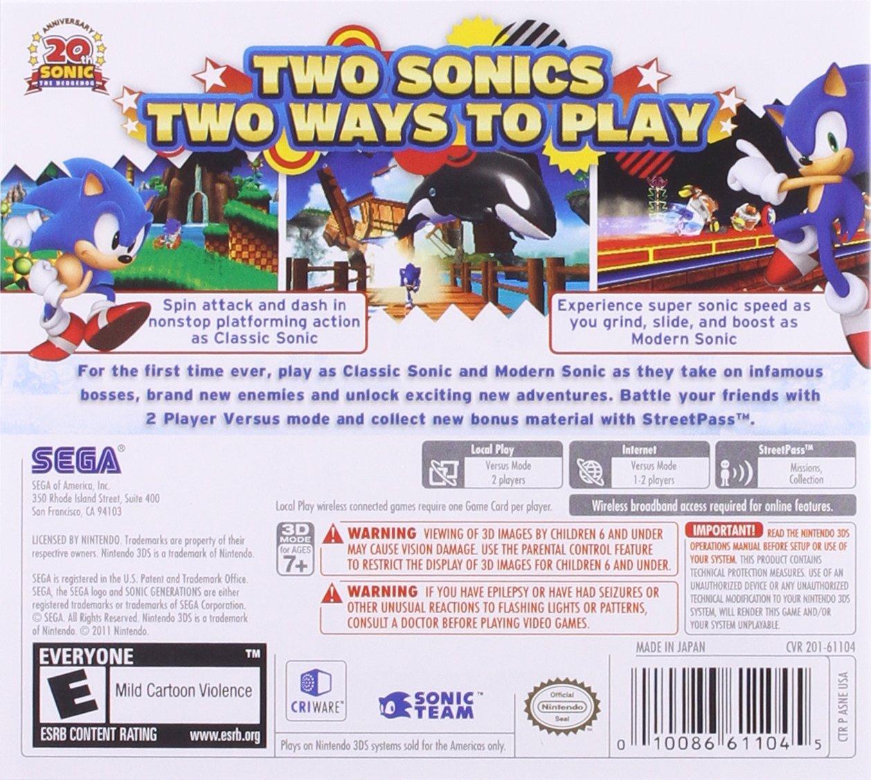 Sonic Generations - Nintendo 3DS by Sega (Image #1)