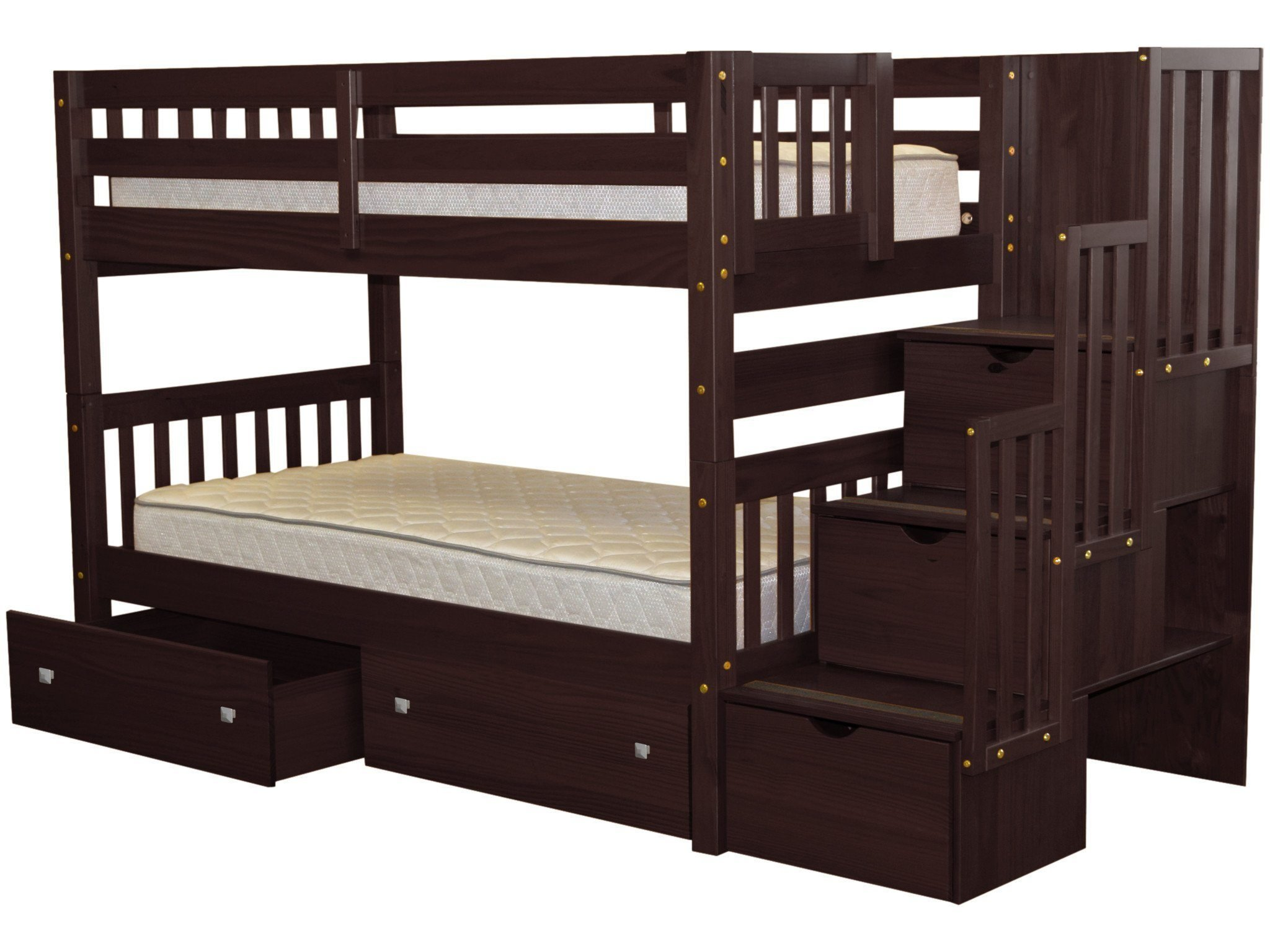 Bedz King Stairway Bunk Beds Twin over Twin with 3 Drawers in the Steps and 2 Under Bed Drawers, Cappuccino by Bedz King