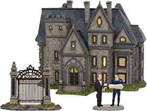 Department 56 DC Comics Village Batman Wayne Manor Bruce and Alfred Lit Building and Accessory Set, 8.07 Inch, Multicolor