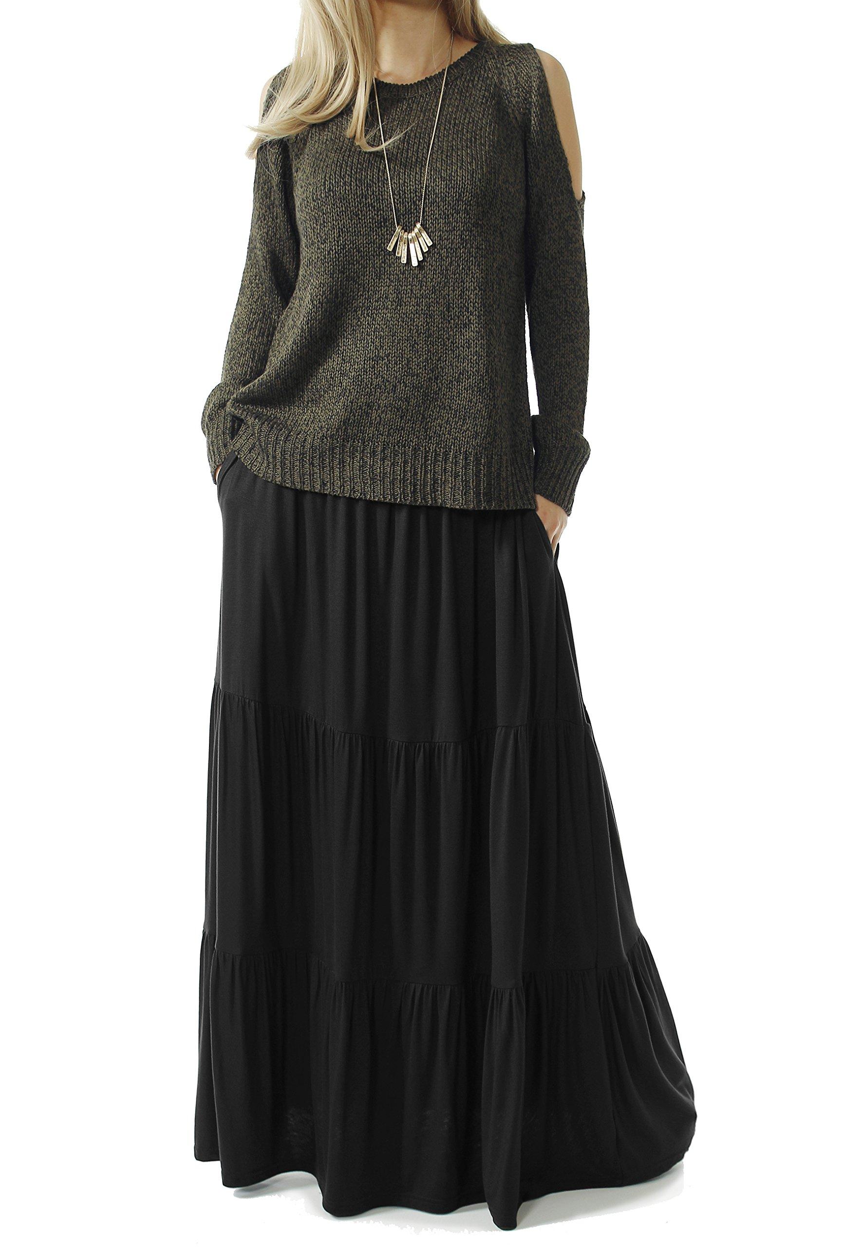 TRENDY UNITED Women's Bohemian Style High Waist Shirring Ruffle Pocket Skirt (S0059-BLK, M)