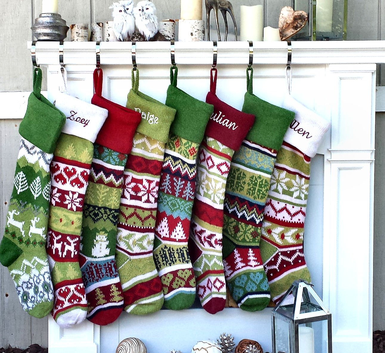 Personalized Knit Christmas Stockings - Green - Red : Green Cuff ...