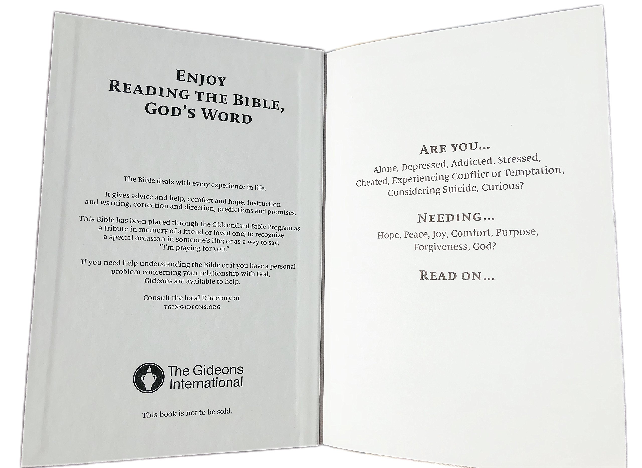 Holy Bible: Placed by The Gideons: The Gideons: Amazon com