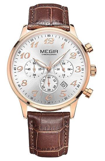 mastop para hombre Casual relojes correa de piel oro rosa cuarzo reloj de pulsera cronógrafo FECHA relojes hombre: Amazon.es: Relojes
