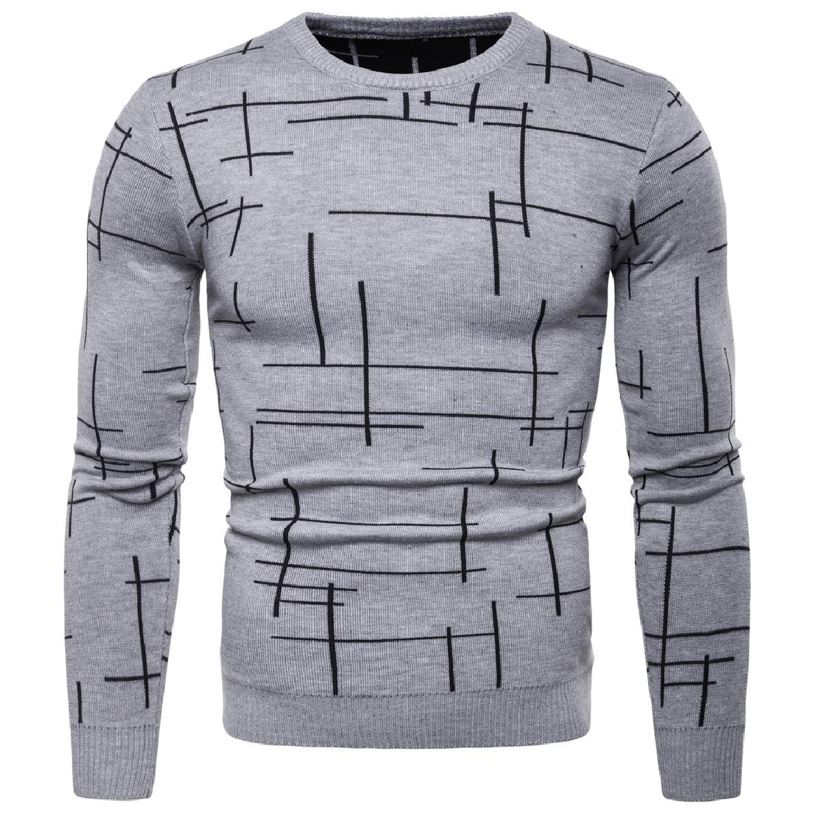 Winwinus Men Round Neck Printing Long Sleeve Knitted Sweater Pullover