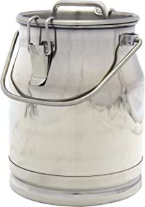 Stainless Steel Milk Transport Cans with Strong, Sealed Lid and Optional Spigot (2.6 Gallon)