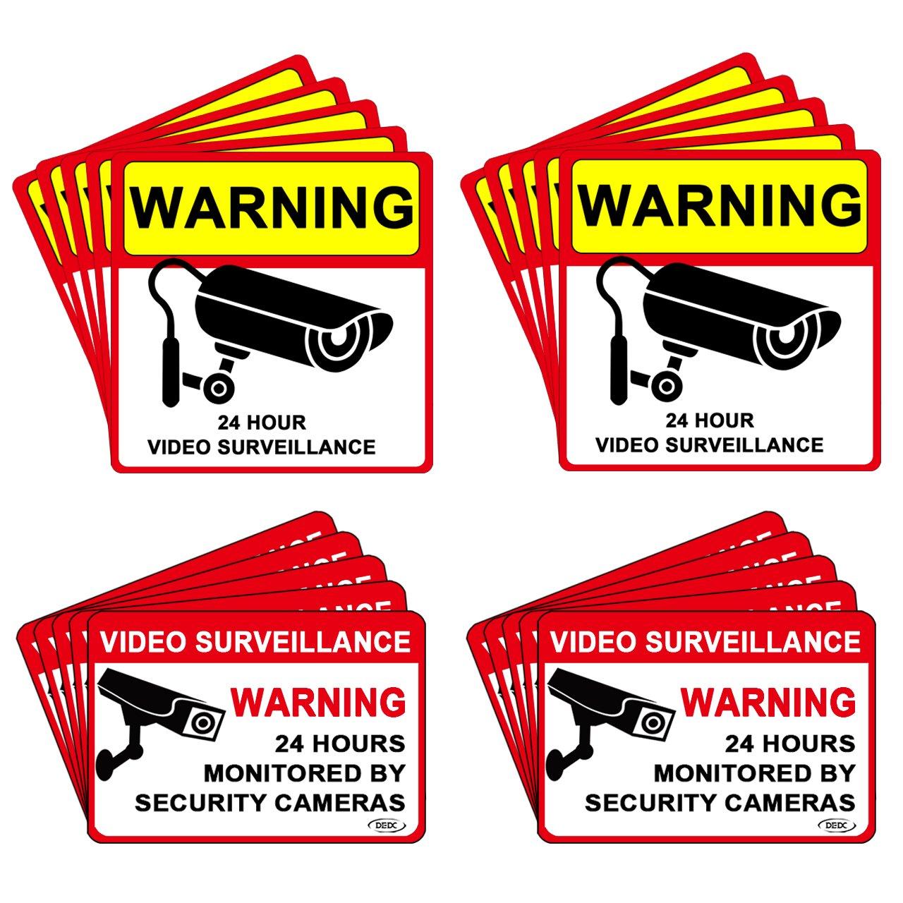 DEDC Pack de 20Pcs Cartel Zona Videovigilada Interior Exterior Placa Disuasorio PVC Expandido Pegatina Señ al Videovigilada Seguridad