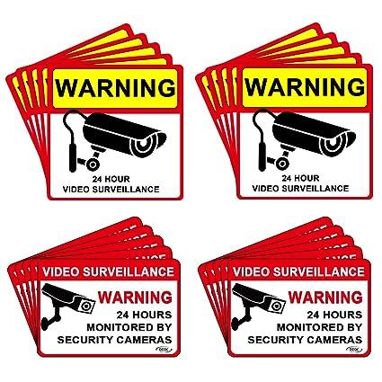 DEDC Pack de 20Pcs Cartel Zona Videovigilada Interior Exterior Placa Disuasorio PVC Expandido Pegatina Señal Videovigilada