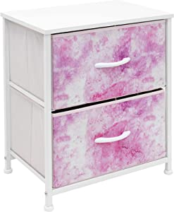 Sorbus Nightstand with 2 Drawers - Bedside Furniture & Accent End Table Chest for Home, Bedroom Accessories, Office, College Dorm, Steel Frame, Wood Top, Easy Pull Fabric Bins (2-Drawer, Pink)