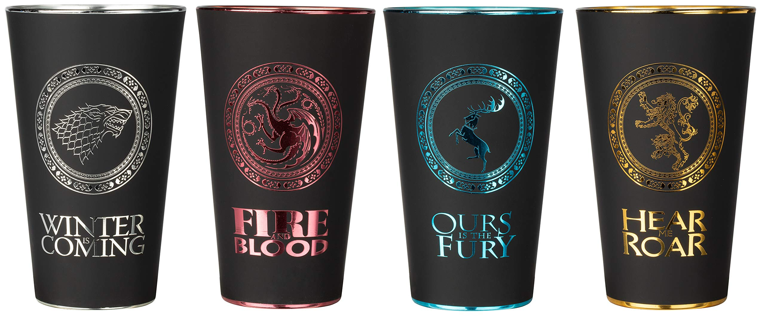 Game of Thrones Pint Glass Set - House Sigil Shaker Glasses - Set Of Four Black Pub Beer Glasses - Novelty Glassware Collectibles