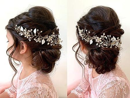 Pretty Baby Girl Headband Honey Gold Tulle Pearl Centre Wedding Party Headdress