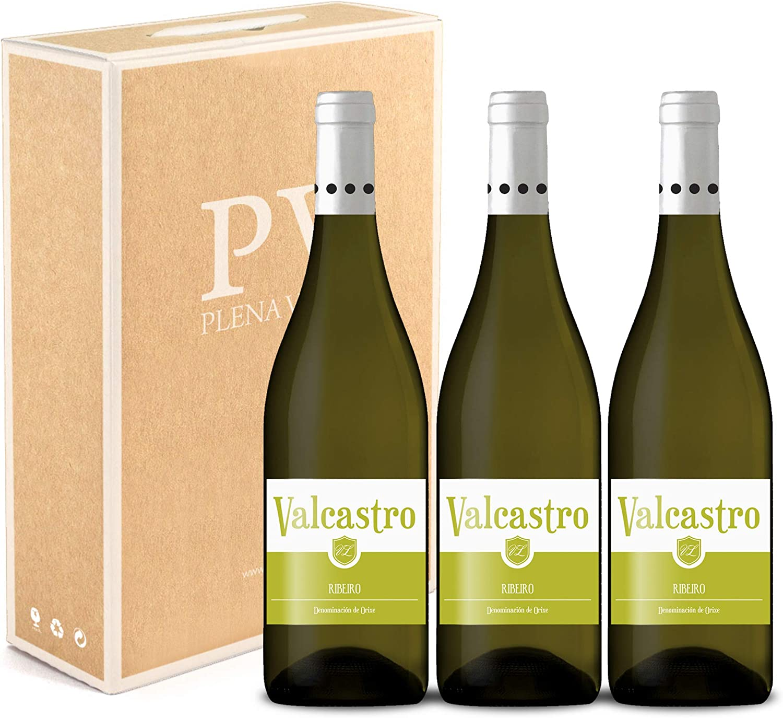 Vino Blanco Ribeiro 100% Gallego pack estuche 3 botellas VALCASTRO 75cl cosecha 2019.: Amazon.es: Alimentación y bebidas