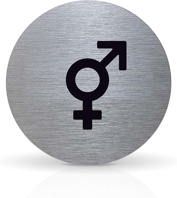 Tello T/ürschild Piktogramm /Ø 7,0 cm Damen mit Klebepad rund Aluminium
