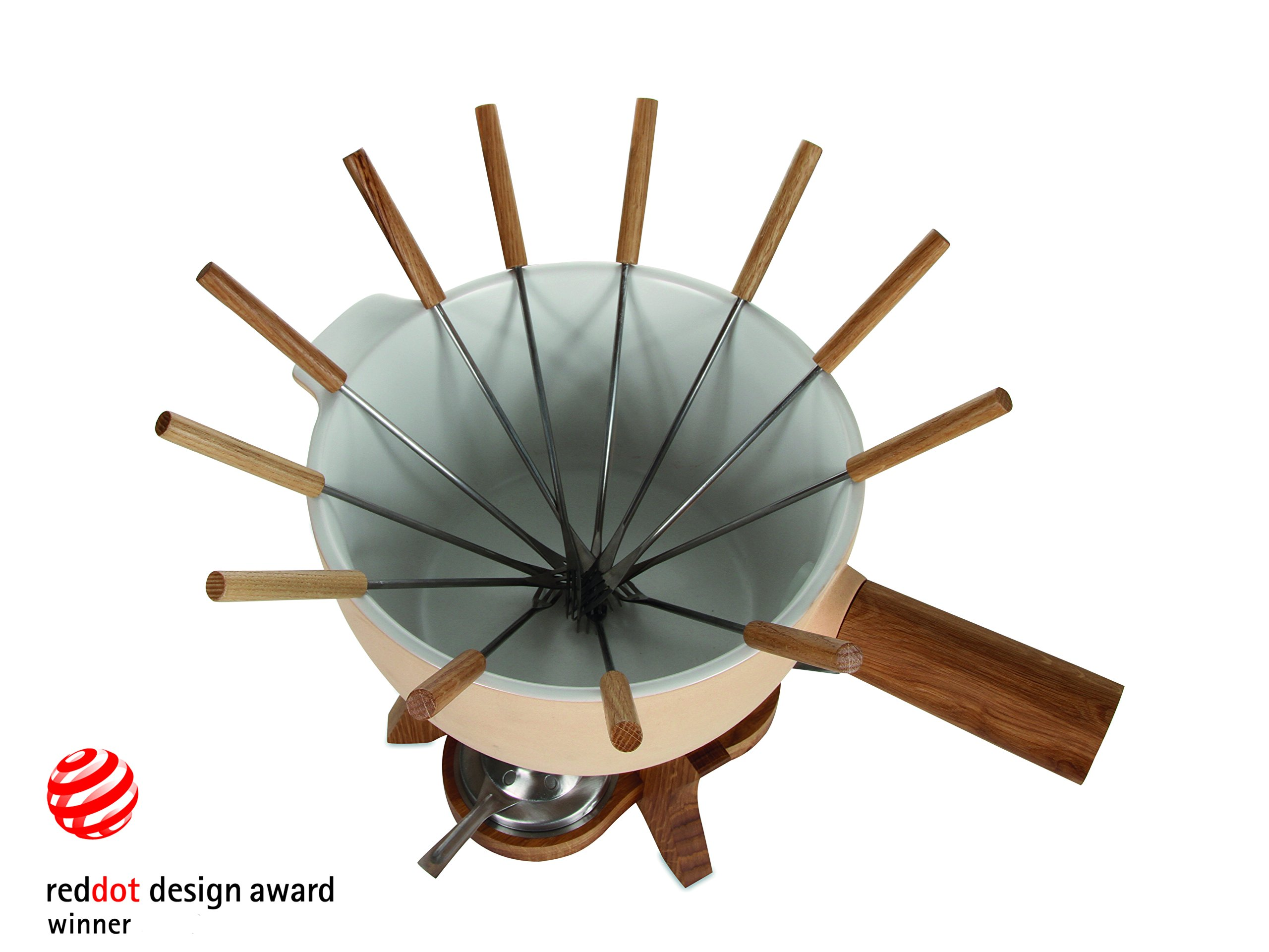 BOSKA Party Fondue Set, 6.5 Liter Stoneware Pot w. Oak Wood Base, 3 Burners, 12 Fondue Forks, Mr Big, Life Collection by Boska Holland (Image #4)