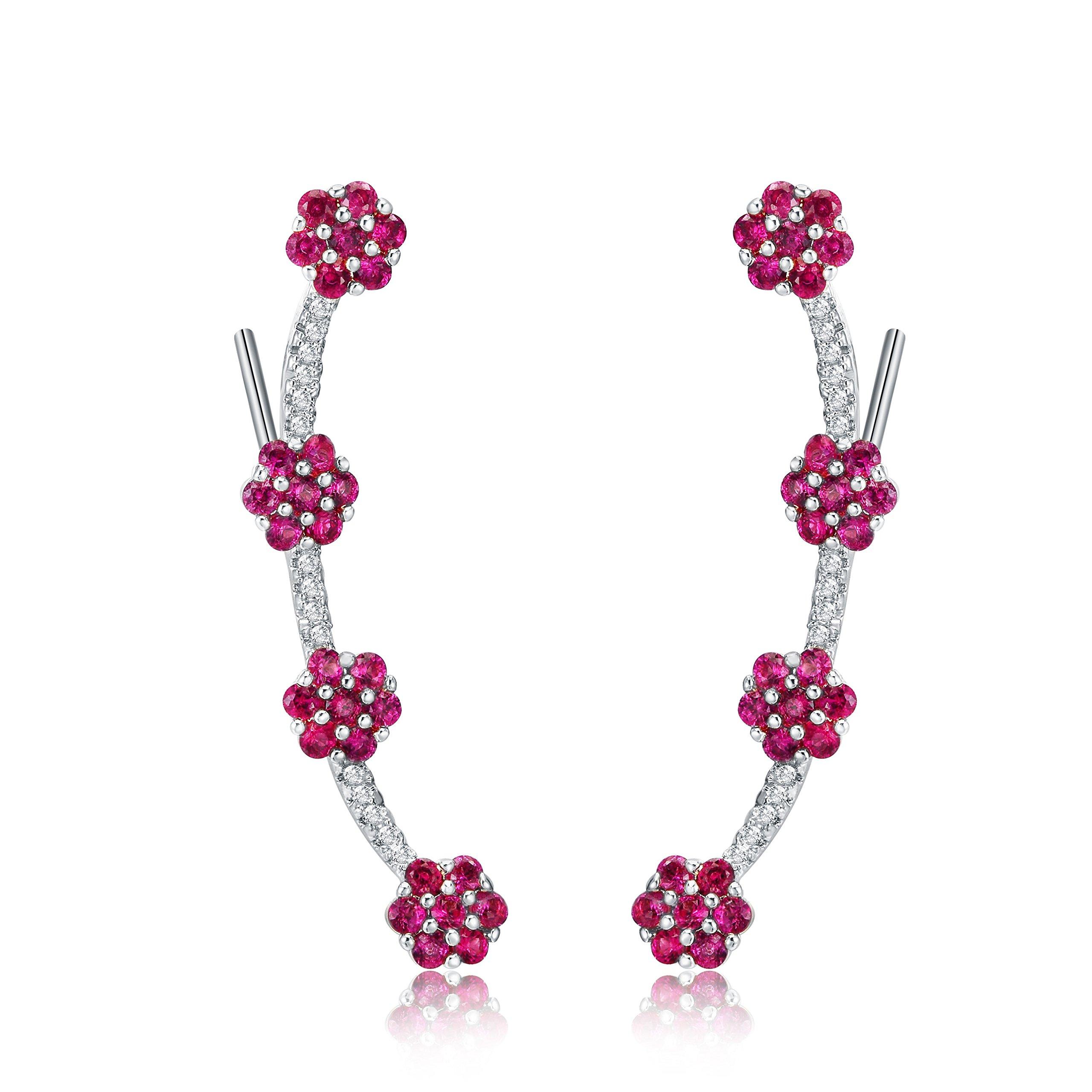 Mevecco Womens Girls Ear Crawler Climber Flower CZ Crystal Ear Wrap Cuffs Earrings Sweep Stud Earring Pin Jewelry-Flower-Silver