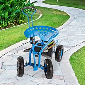 KINTNESS Garden Cart Rolling Work Seat with Tool Tray and Storage Basket on Wheels Heavy Duty Scooter Gardening Planting