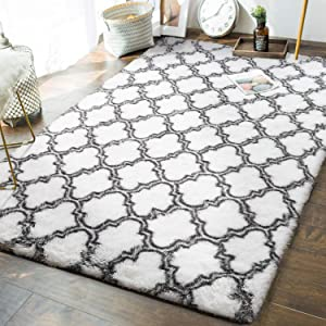 Andecor Geometric Bedroom Rugs - 5 x 8 Feet Shaggy Area Rug Mordern Indoors for Living Room Girls Boys Kids Room Dorm Nursery Home Holiday Decor Floor Carpet, White & Grey