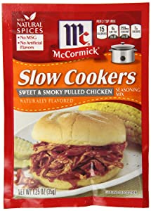 "McCormick ""Slow Cookers"" Sweet & Smoky Pulled Chicken Seasoning (1.25 oz Packets) 4 Pack"