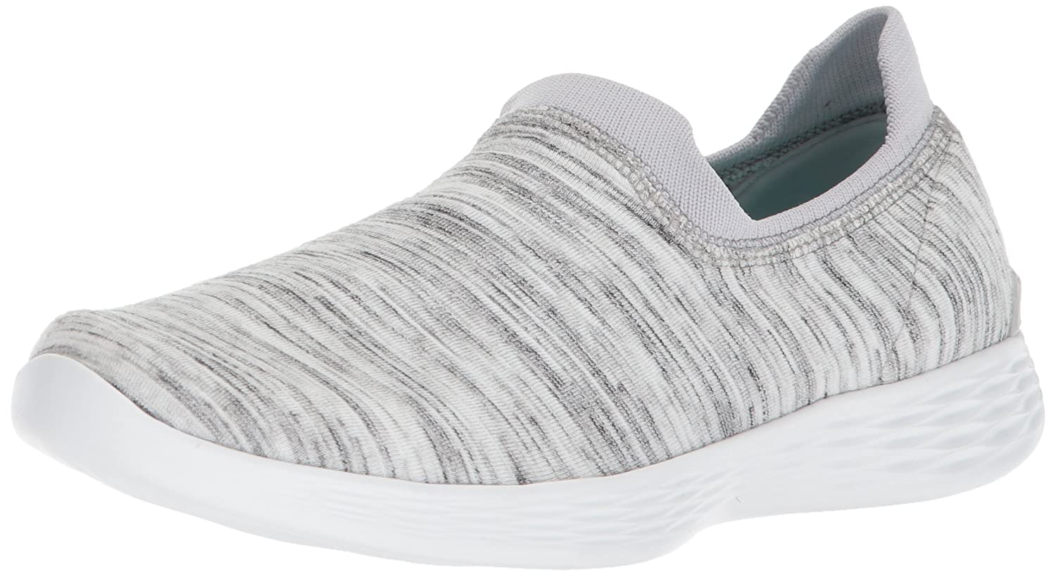 Skechers Women's You Zen Wide Sneaker B071WY94CR 6 W US|White/Gray