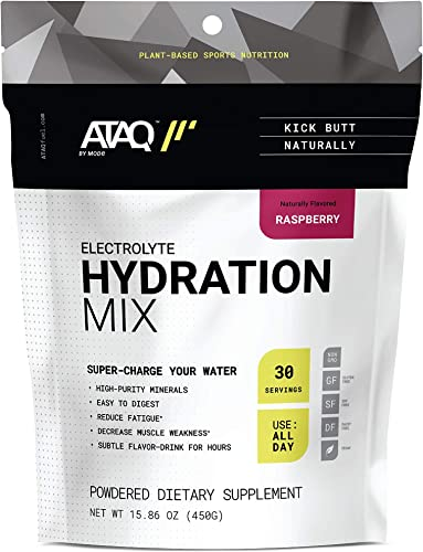 ATAQ Ultimate Electrolyte Powder Plant Based, Vegan, Gluten Free, Dairy Free, Soy Free, All Natural, Non GMO, High Purity Hydration Mix Raspberry, 30 Servings, 15.8 oz Pouch – Packaging May Vary
