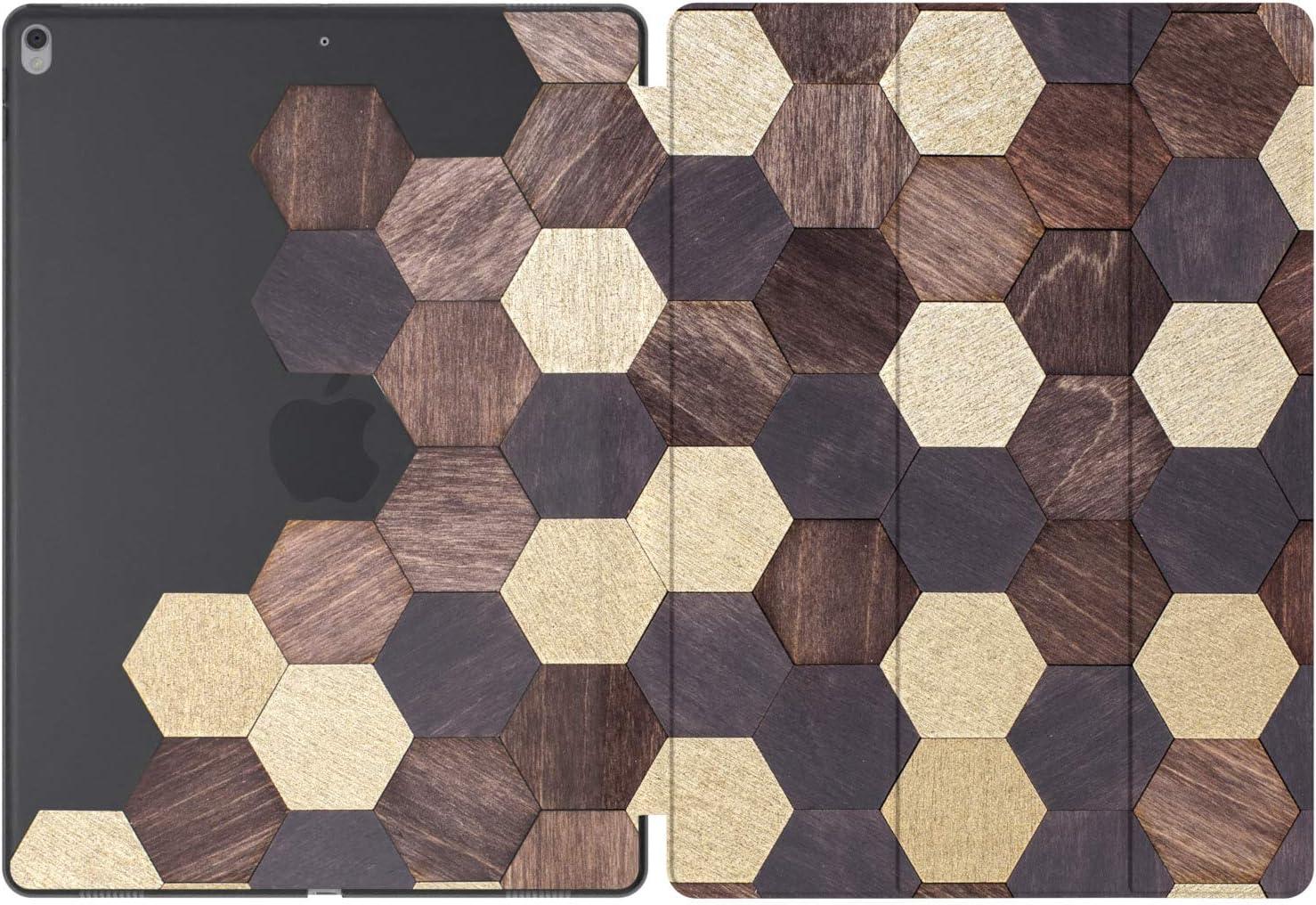 Mertak Case Compatible with iPad Pro 11 2020 12.9 inch Air 3 2 10.2 8th 7th 2018 10.5 9.7 Mini 5 4 Hexagon Mosaic Design Honeycomb Abstract Auto Wake Sleep Brown Print Clear Slim Tiles Wood