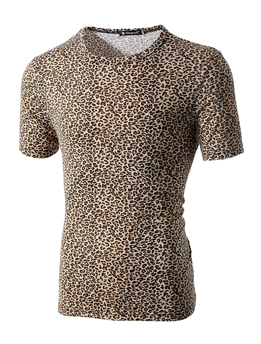 71a655b40 Amazon.com: uxcell Men Short Sleeve Round Neck Leopard Print T Shirt:  Clothing