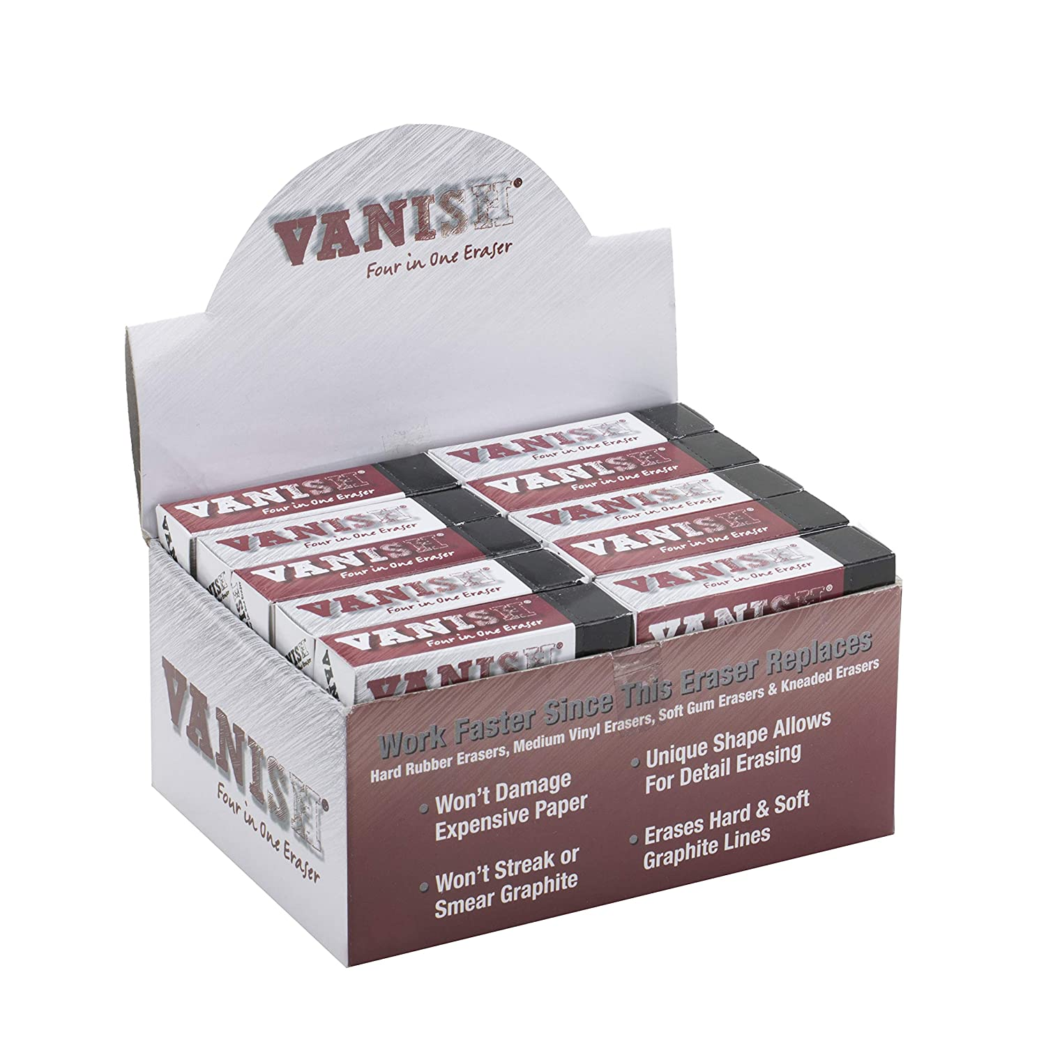 Vanish 4-in-1 Artist Eraser Replaces Gum Rubber Vinyl and Kneaded Erasers 4 Pack