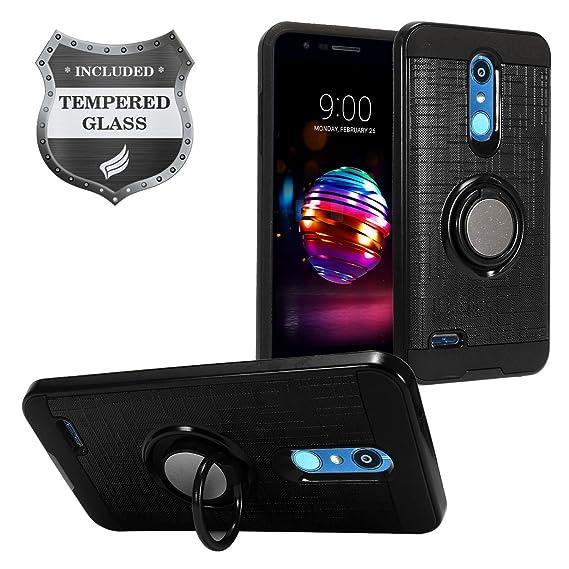 LG K30 LM-X410, Xpression Plus, Phoenix Plus X410AS, Harmony 2, CV3 Prime,  Premier Pro LTE L413DL - Hybrid Phone Case w/Ring Stand + Tempered Glass