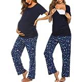 Ekouaer Women's Maternity Nursing Pajamas Sets Breastfeeding Printed Sleepwear Short Sleeve 2 Pcs Henley Top and Pants…