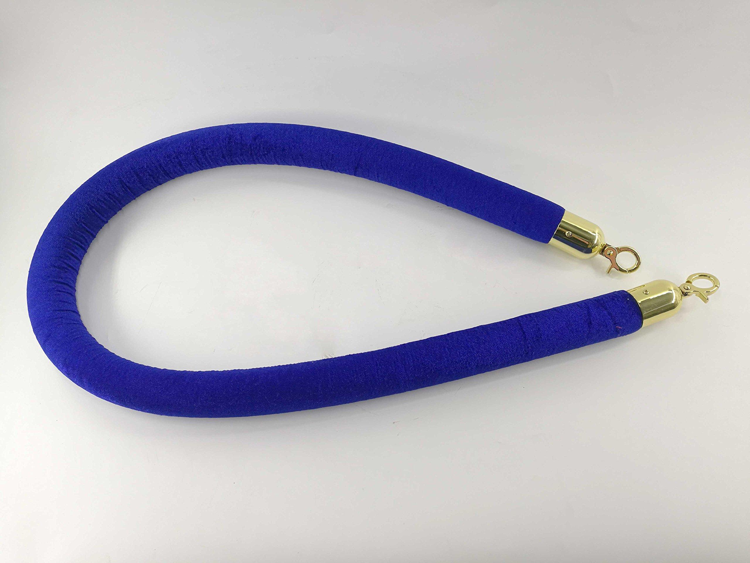 FixtureDisplays Crowd Control Stanchion Queue Barrier Post 59'' Blue Velvet Rope 12004-9-BLUE-GOLD by FixtureDisplays