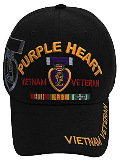 0b07cfa2fc5 Image Unavailable. Image not available for. Color  Purple Heart Vietnam Veteran  Cap Black Hat and Sticker Army Marine Navy