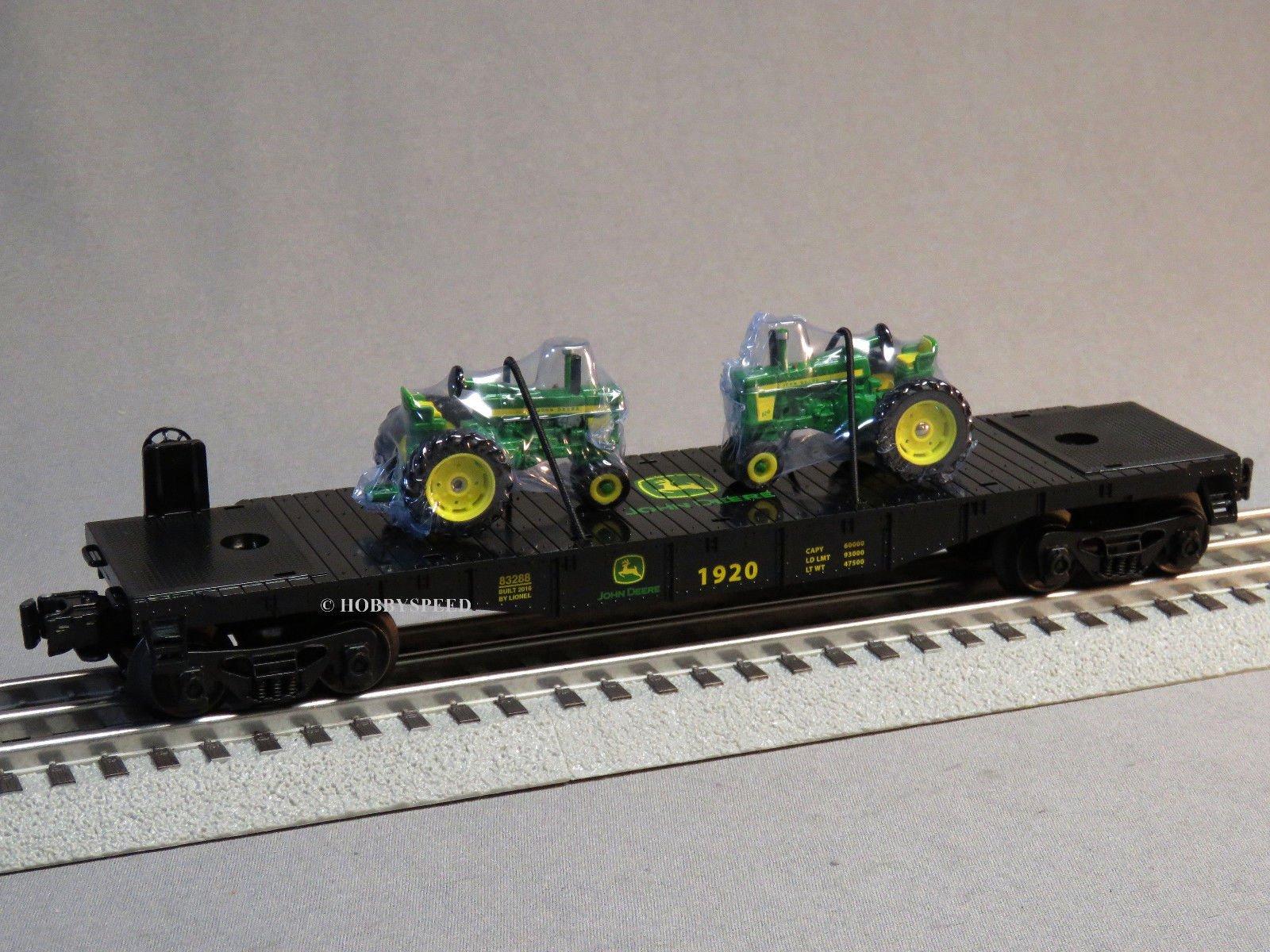 LIONEL JOHN DEERE FLATCAR 2 FARM TRACTORS 1:64 o gauge train 6-83286